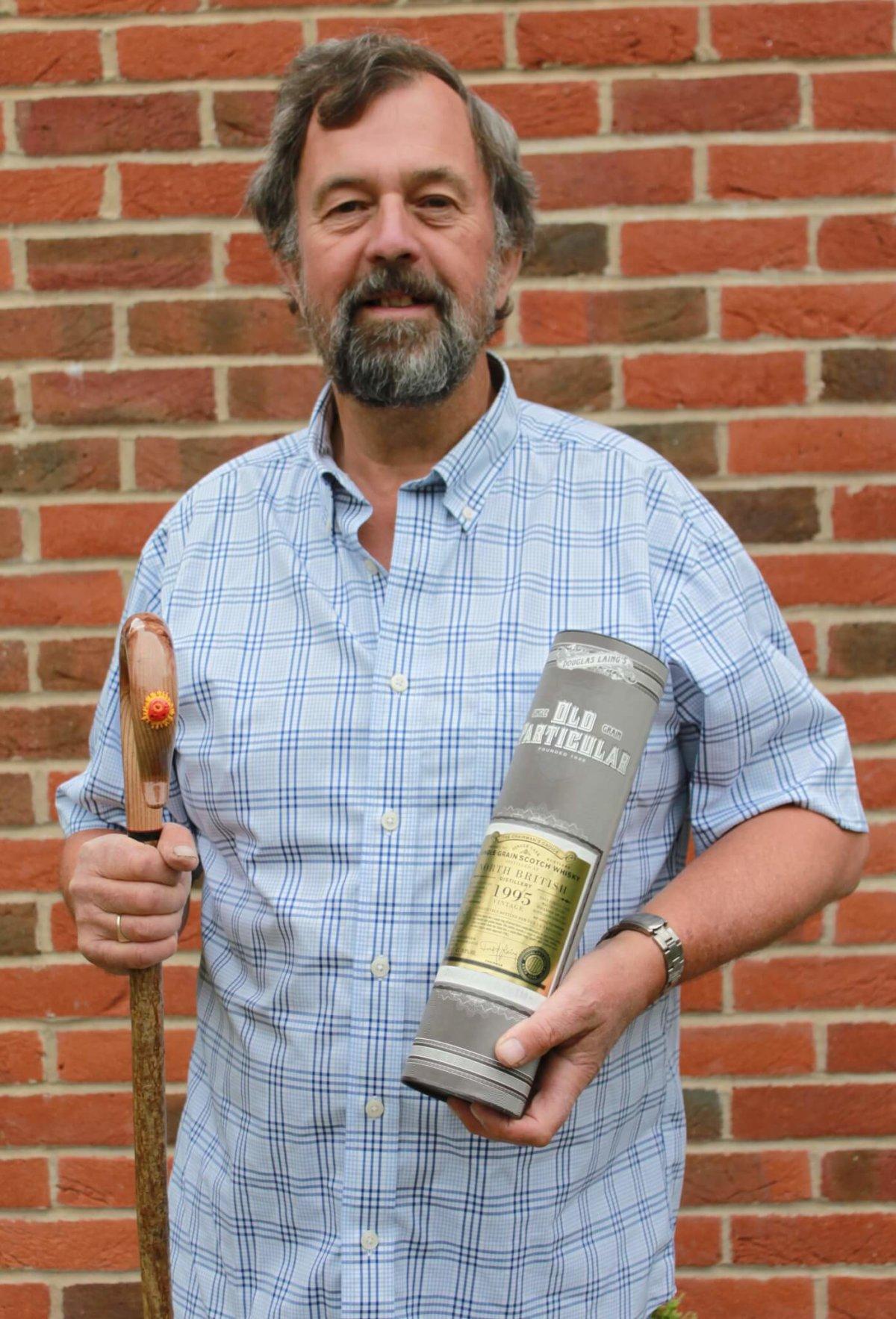 Martin Savage with winning stick & whisky